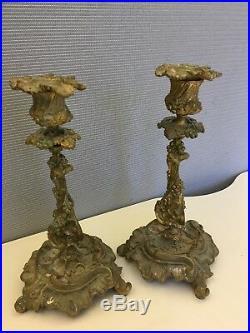 Antique Brass Candelabras Set of 2