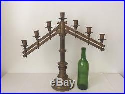 Antique Brass Church Altar Menorah 1883 Candlestick Candelabra 7 Candle