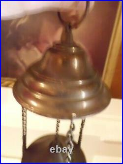Antique Brass Church Candle Holder Hanging Sanctuary Lamp with Cherub Heads