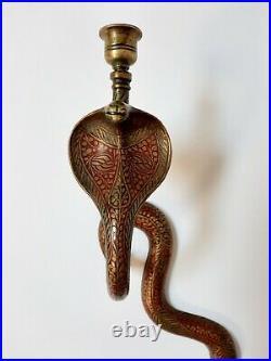 Antique Brass Cobra Wall Sconce Candle Holder Egyptian Revival Vintage