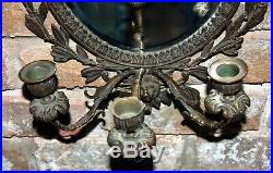 Antique Brass Frame & Lion Beveled Oval Mirror Triple Candle Holder Wall Sconce