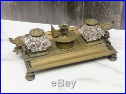 Antique Brass Glass Double Ink Well Candle Holder Snifter Pen Stand Bun Feet