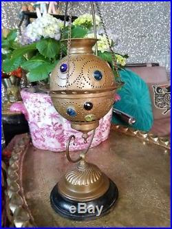 Antique Brass Jeweled Fairy Lamp & Hanger Stand Candleholder, Incense burner