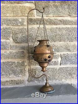 Antique Brass Jeweled Fairy Lamp & Hanger Stand Pierced Candleholder Lantern