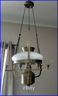Antique Brass Kosmos Brenner Hanging Pull Down Library Oil Lamp, Candle Holders