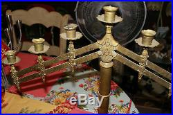 Antique Brass Metal Candelabra Candle Gothic Church Candle Holder Large Menorah