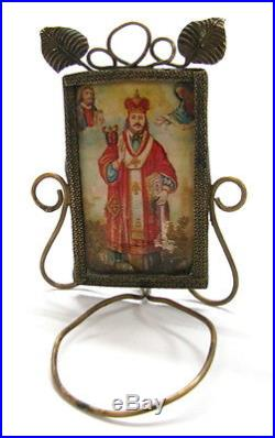 Antique Brass Mini Christian Icon Religious Candle Wall Holder Look See