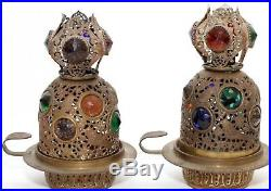 Antique Brass Ormolu Jeweled Fairy Lamp Filigree Shade Pair Candle Top
