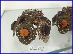 Antique Brass Ormolu Jeweled Fairy Lamp Filigree Shade Pair Candleholder