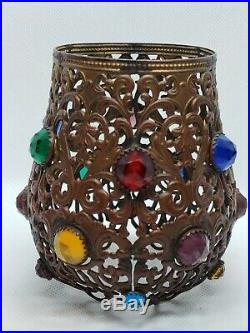 Antique Brass Ormolu Jeweled Fairy Lamp Filigree Shade Victorian candle holder