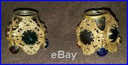 Antique Brass Ormolu Jeweled Filigree Candle Holders