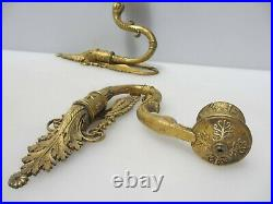 Antique Brass Piano Candle Holder Light Sconces Victorian Old Swan Head French