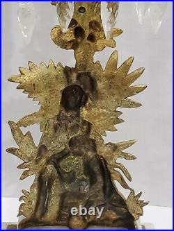 Antique Brass Tabletop Candle Holder Candelabra Marble Base Crystal Droplets