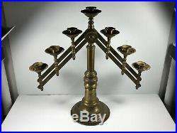 Antique Brass Tabletop Mortuary Funeral Candle Holder Candelabra HEAVY DUTY