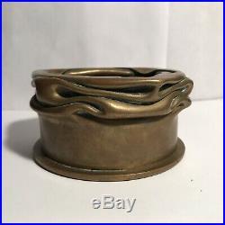Antique Brass Trench Art Shell Art Nouveau Dirk Van Erp Style Candle Holder