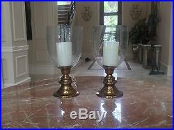 Antique Brass and Glass Hurricane Lanterns