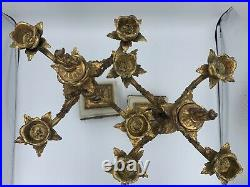 Antique Brass and Marble Candelabras