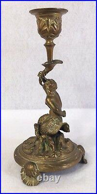 Antique Bronze Brass Ornate Merman Mermaid Maritime Candle Holder Rare