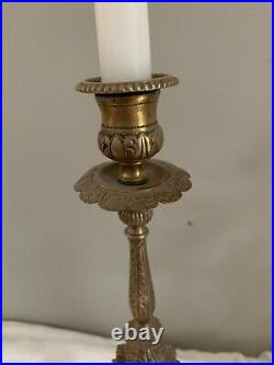 Antique Bronze Serpent Snake Candle Stick Pair Attributed To Antonio Pandiani