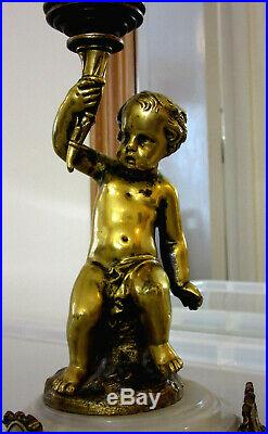 Antique CHERUB Gilded Brass CANDLE HOLDER on Marble Base (Three Foot Supports)