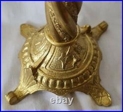 Antique Candelabras Candlesticks 3 Arm French Gilt Brass Bronze