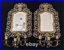 Antique Cast Brass Bacchus Mirror 3 Arm Candle Sconce (2)
