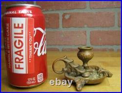 Antique Decorative Arts Chamberstick Candlestick Holder Bronze Brass Ornate