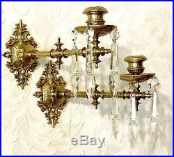Antique Eastlake-piano Wall Sconce-candle Holder-brass-crystal-swivel Arms-pair