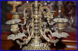 Antique Electric Table Lamp Combination Candelabra Candle Holder-Faces-Porcelain