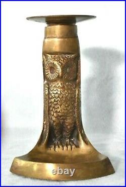 Antique English Brass Arts & Crafts Night OWL Figure Chamberstick Candle Holder