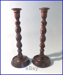 Antique English Oak Barley Twist Candlesticks. Brass Tops. 1930's. Free Shipping