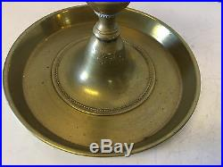 Antique English Pair of Brass Bell Tavern Candles Candle Sticks / Holders