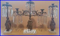 Antique Figured Girandole Candelabra 100 Crystal Prisms Brass Bronze