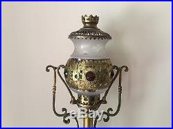 Antique French 1800's Brass Jeweled Railroad Train Lantern Lamp Candle Holder