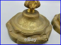 Antique French Brass Bronze Gilt Floral Candle Holders