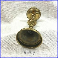 Antique French Brass Candlestick Candle Holder Church Altar 19th Century Gothic