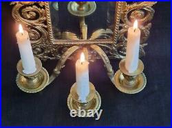 Antique French Brass Girandole Mirror Candle Holder Wall Sconce Bevelled Glass