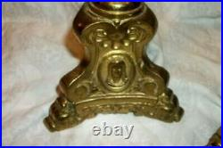 Antique French Bronze Brass Altar Candle Holders Jesus Cameo Face Farmhouse