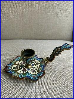 Antique French Champleve' Enamel Chamber Bronze/Brass Candle Holder