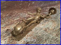 Antique French Old Ornate Silver Brass Bronze Cherub Wall Sconce Candle Holder