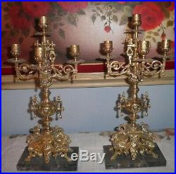Antique French Old World Style Brass Marble Candelabra Candle Holders