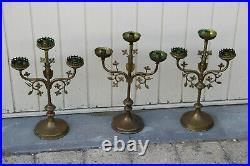 Antique French Religious set 3 Altar 3 arm Candelabras Candle holder Brass