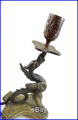 Antique French Strange Art Nouveau Brass Candle Holder Candelstick Gargoyle