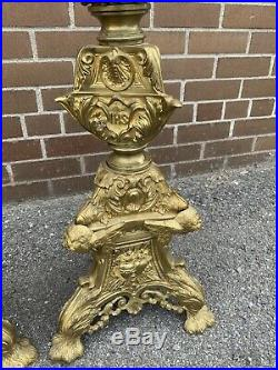 Antique French TALL Brass Church Floor Candelabra Candle Holder 46 matched pair