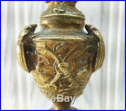 Antique French candlesticks, pair Baroque gilt brass candlesticks candle holders