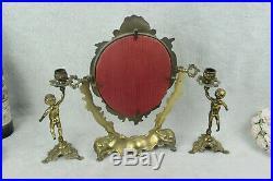 Antique French vanity Bronze brass putti Mirror candle holder set make up