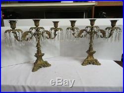Antique Gilt Brass Bronze Crystal Candelabra Pair Stamped Hooper circa 1850 JGW1
