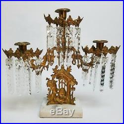 Antique Girandole 3 Arm Candle Holder Candelabra Bear and Beehive NY Brass