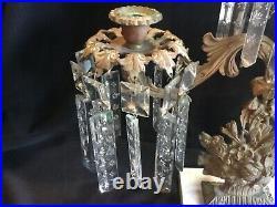 Antique Girandole Candelabra Mantle Lustre Candle Holder Prism Lamp 3 Piece Set