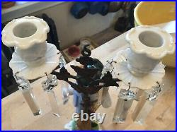 Antique Girandole Candlebra Brass Porcelain Crystals Man With Wheat Rare French